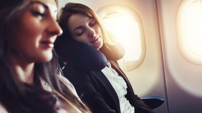 women on a plane